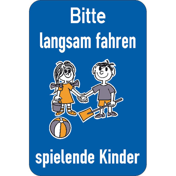 schild bitte langsam fahren spielende kinder. Black Bedroom Furniture Sets. Home Design Ideas